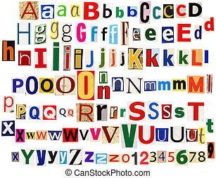 Colorful newspaper letters alphabet