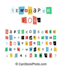 Colorful newspaper letters font, latin alphabet signs and numbers on white