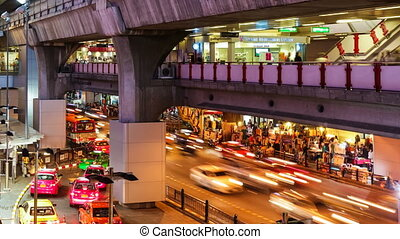COLORFUL NIGHT TRAFFIC TIME LAPSE -