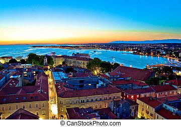 Colorful nightscapes of city Zadar, Dalmatia, Croatia