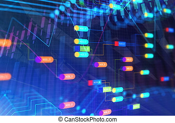 Colorful node background - Glowing colorful node background....