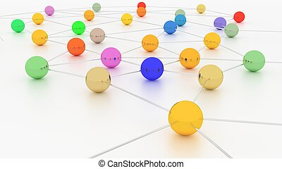 Colorful nodes in a network on white - Colorful network with...