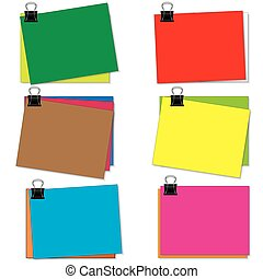 Colorful note on white background