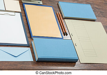 Colorful notebooks on the desk