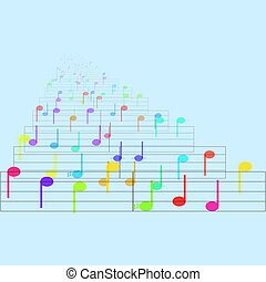 Colorful notes sheet music cheerful musical concept...