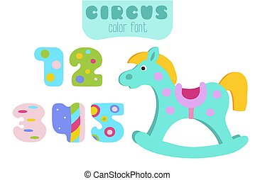 Colorful numbers 1, 2, 3, 4, 5 and rocking horse