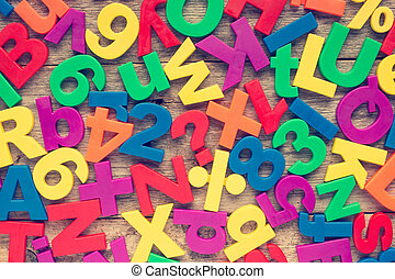 Colorful numbers and alphabet letters