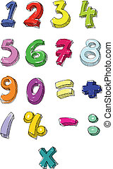 Colorful numbers hand written