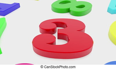 Colorful numbers on white background