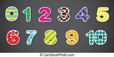 Colorful numerical figures