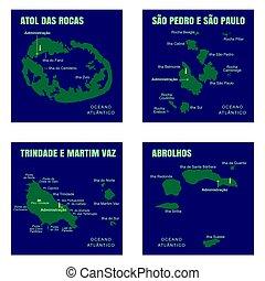 Colorful Ocean Islands Map, Brazil.