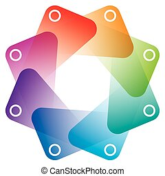 Colorful Octagon Symbol with transparent effect.