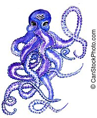 Colorful Octopus Art - Watercolor painting of big colorful...