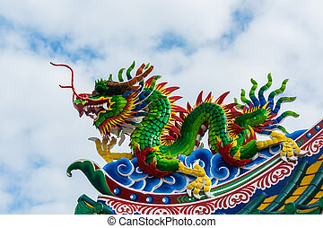 Colorful of chinese dragon on the roof.