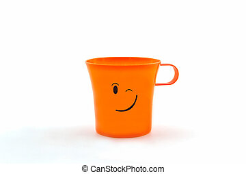 Colorful of facial expression on cup. - Colorful of facial...