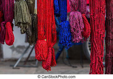 Colorful of hammock made from nylon hanging.