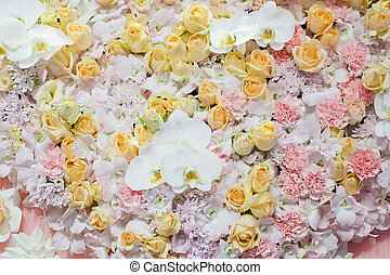 colorful of roses background - natural texture of love