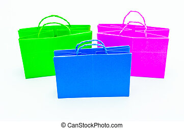 Colorful of shopping bag isolated on white