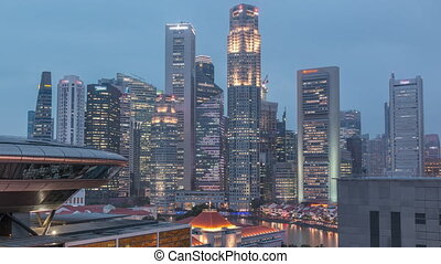 Colorful of Singapore Central business district day to night timelapse cityscape skyline at Marina Bay with Singapore Academy of Law