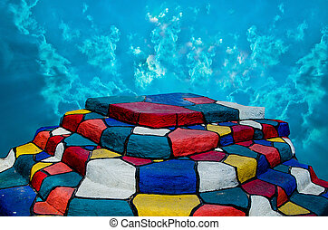 Colorful of staircase on blue sky background
