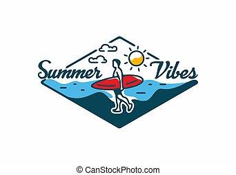 Colorful of summer time line art illustration