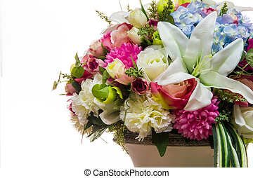 colorful of variety plastic flowers