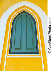 Colorful of wooden Church window.