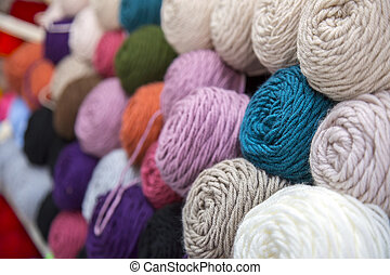 Colorful of Yarn Balls Wool