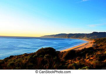 Colorful oil painting. Beautiful Malibu beach landscape. (I...