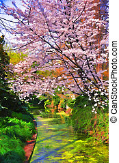 Colorful oil painting. Garden. (I used an unique computer...