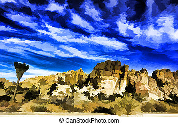 Colorful oil painting. Joshua Tree National Park. (I used an...