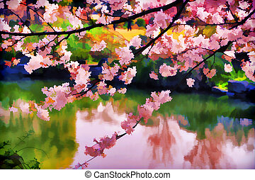 Colorful oil painting. You can see peach flowers over a...