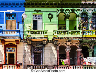 Colorful old facades at a building on Havana Centro,