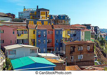 Colorful old houses in Valparaiso