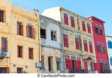 Colorful old houses on the street.