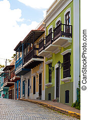 Colorful Old San Juan PR - A row of colorful pastel painted...