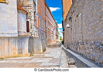 Colorful old stone street in town of Zadar