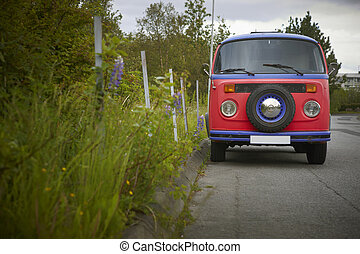 Colorful old van and plants. Iceland. Reykjavic.