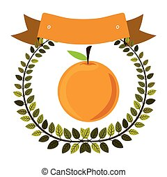 colorful olive crown and label with orange fruit vector illustration