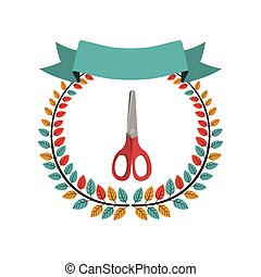 colorful olive crown with ribbon and scissors