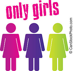 colorful only girls sign isolated over white background. vector