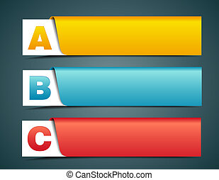 Colorful options banner template, vector illustration