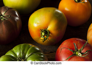 Colorful Organic Heirloom Tomatoes Fresh from the Garden