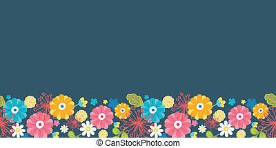 Colorful oriental flowers horizontal seamless pattern border...