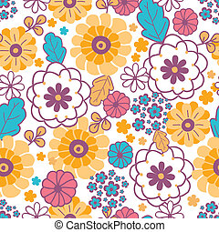 Colorful oriental flowers seamless pattern background