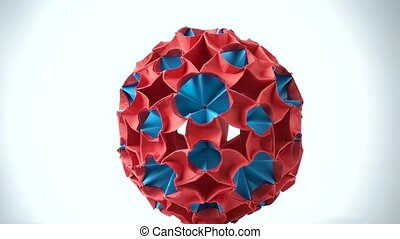 Colorful origami ball close up. Blue and red spherical shape...