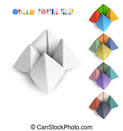 Colorful origami Fortune Teller. Vector set