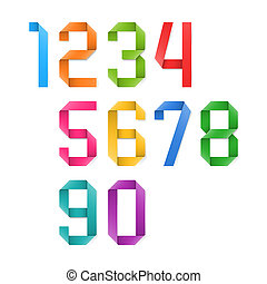 Colorful origami numbers set