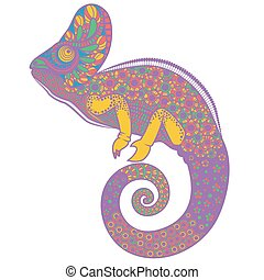 Colorful ornate chameleon vector illustration
