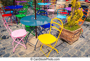 colorful outdoor cafe in Argentina